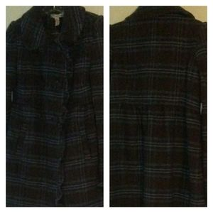 American Rag Plaid Wool Blend Lined Peacoat Size S